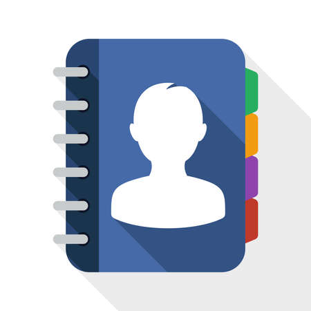 address book: Address book flat icon with long shadow on white background