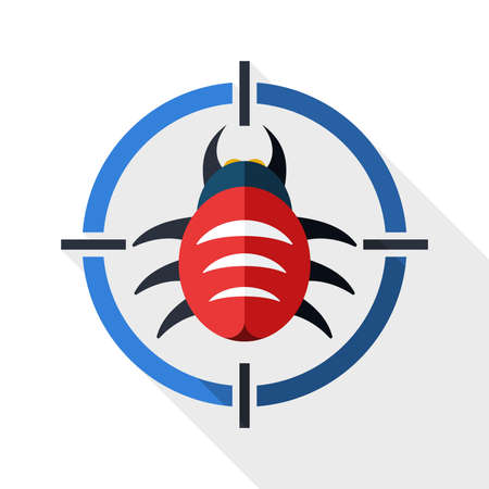 Bug target icon with long shadow on white background Illustration