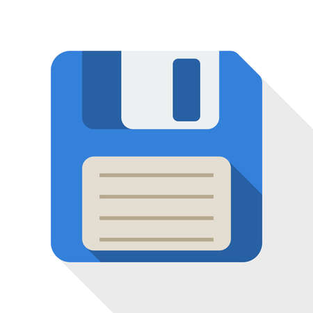 Floppy disk: Floppy disk flat icon with long shadow on white background Illustration