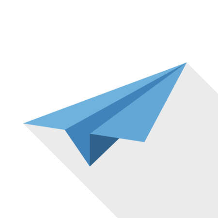 paper airplane: Paper airplane icon with long shadow on white background Illustration