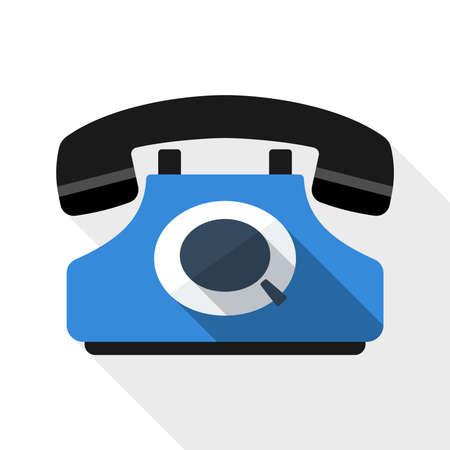 techology: Retro telephone flat icon with long shadow on white background Illustration
