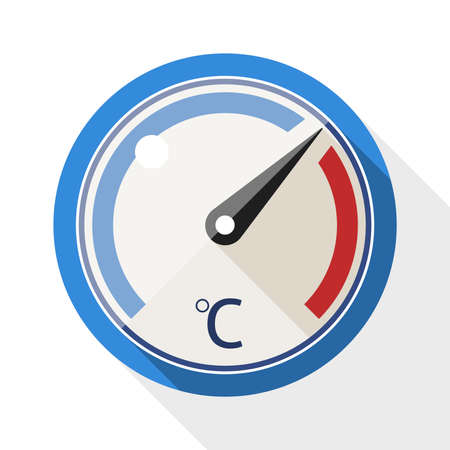 coldness: Thermometer flat icon with long shadow on white background Illustration