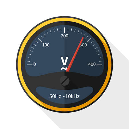 voltmeter: Voltmeter icon with long shadow on white background
