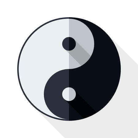 daoism: Yin and yang symbol with long shadow on white background