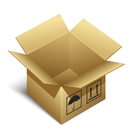 brown box: Opened brown paper box icon with shadow Illustration