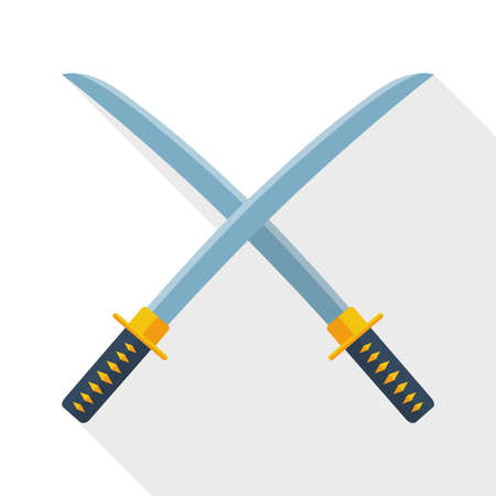 ninja ancient: Japanese swords icon with long shadow on white background