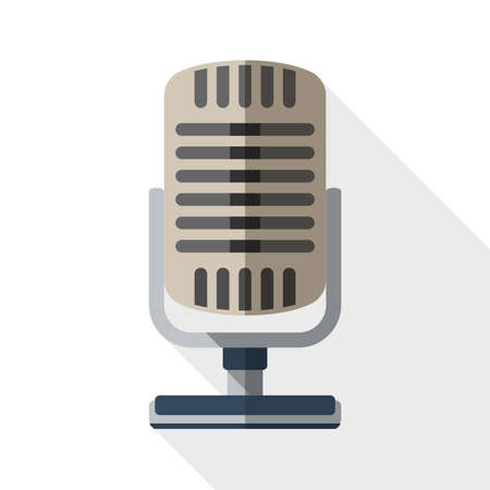 microphone: Retro microphone flat icon with long shadow on white background Illustration