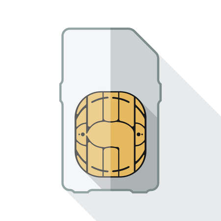 gsm phone: Mini sim card icon with long shadow on white background