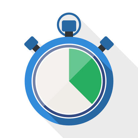 span: Stopwatch flat icon with long shadow on white background Illustration