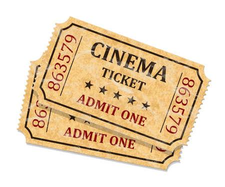 biglietto: Biglietti del cinema retrò su sfondo bianco, vettore