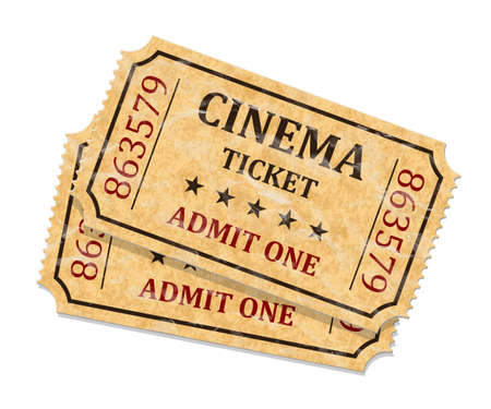 old movie: Retro cinema tickets on white background, vector