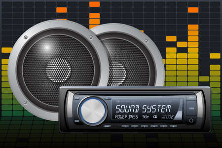 Car audio with speakers on the digital equalizer background. Vector