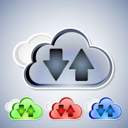global settings: Cloud computing download and upload icons set Illustration