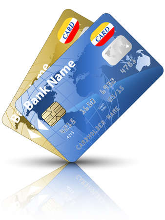 credit card debt: Icon of a two credit cards