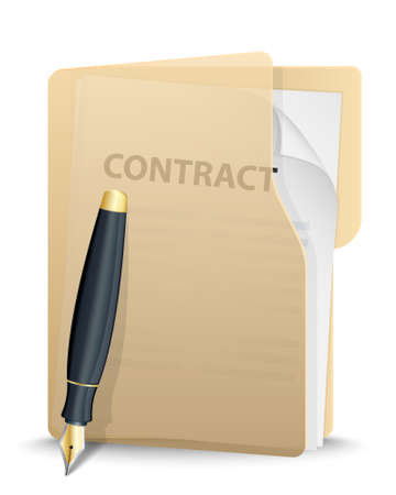 signing papers: Folder with contract inside and pen illustration