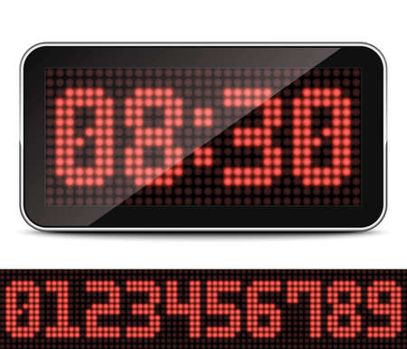lcd display: Digital LED Clock Illustration