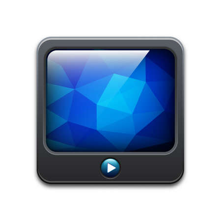 media center: TV icon with play button and abstract polygonal background