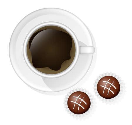 cafe bombon: Taza de café con dos dulces de chocolate en el fondo blanco.
