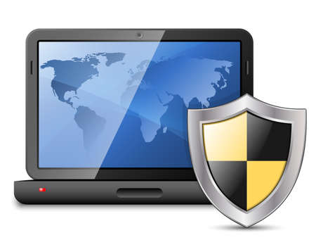 protective shield: Icon of laptop with protective shield