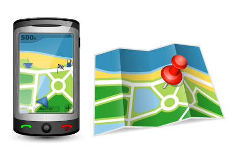 gps device: Paper map and GPS device illustration Illustration