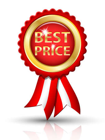 low prizes: Golden BEST PRICE tag with ribbons
