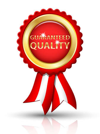 qualities: Golden GUARANTEED QUALITY tag with ribbons