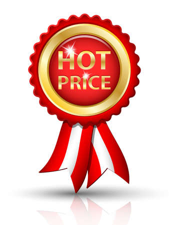 hot price: Golden HOT PRICE tag with ribbons Illustration