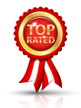 rated: Golden TOP RATED tag with ribbons Illustration