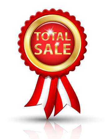 low prizes: Golden TOTAL SALE tag with ribbons