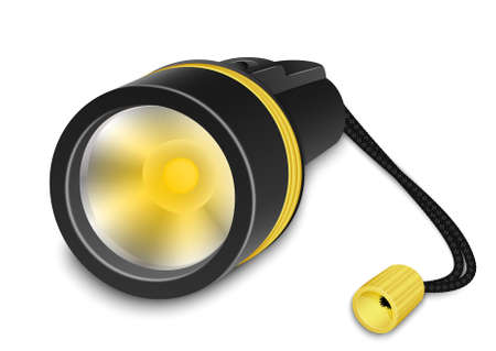light emitting diode: Flashlight with small strap on a white background