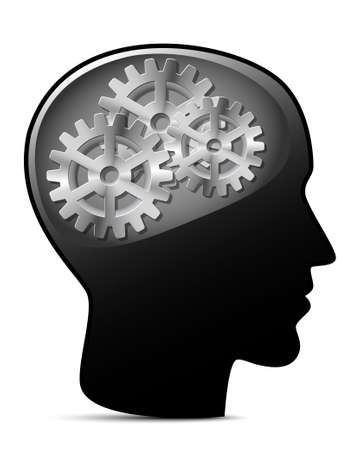 artificial: Human head with gears