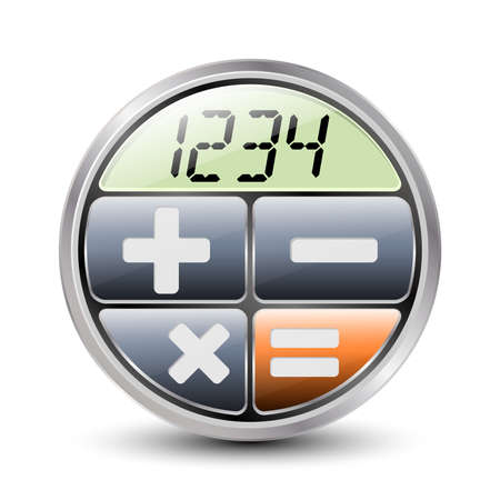 number button: Calculator icon on a white background