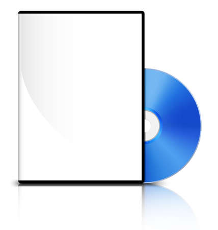 DVD case with a blank cover and shiny blue DVD disk