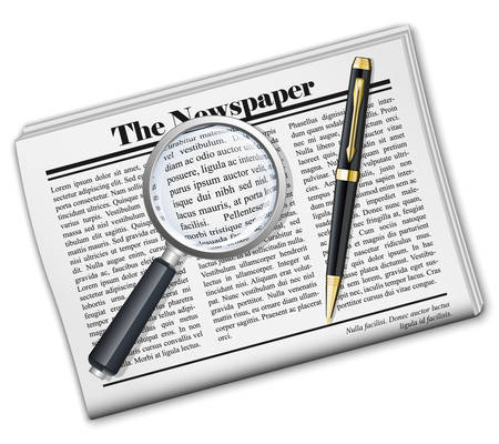 periodicals: Newspaper with magnifying glass and pen