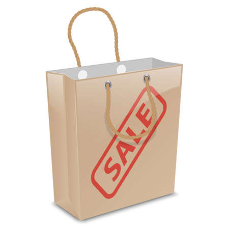 grabbing: Vector shopping bag with sale stamp