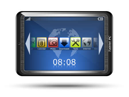 touch: Tablet PC with touch screen Illustration