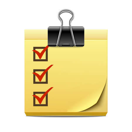 binder clip: Checklist on a note paper with binder clip