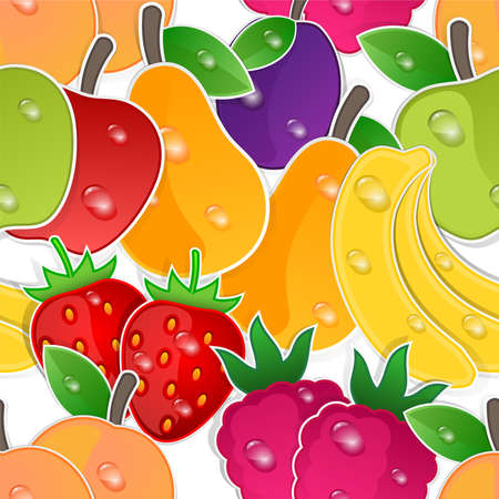 rich in vitamins: Fruits seamless background. Vector pattern Illustration