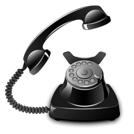 rotary: Old telephone with removed receiver. Vector illustration Illustration