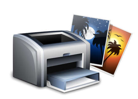 color printer: Color laser printer and photos. Vector illustration Illustration