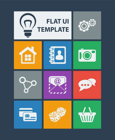 mobile home: Modern flat user interface (UI) template