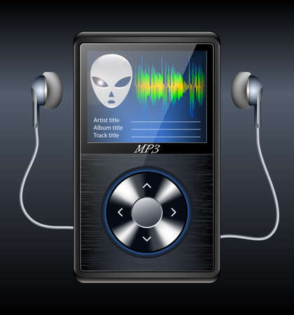 portable player: MP3 Player with earphones. Vector