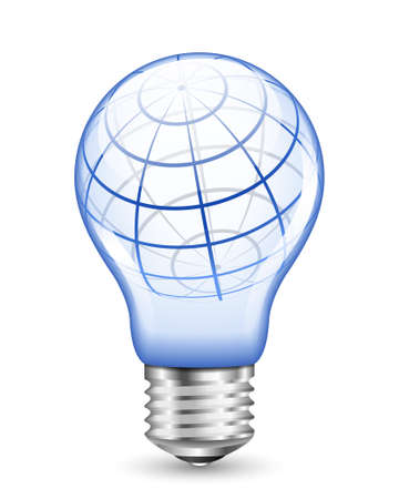 wireframe globe: Vector illustration concept of wireframe globe inside light bulb Illustration