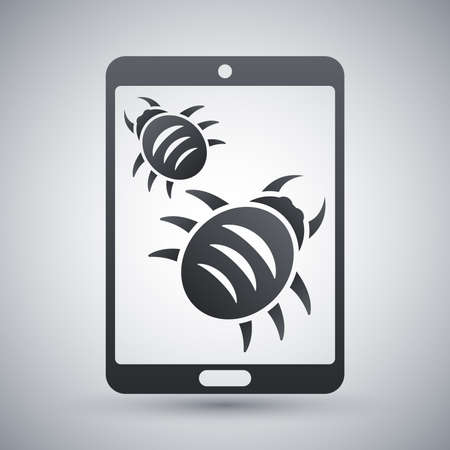 Tablet is infected by malware, vector illustration Illustration