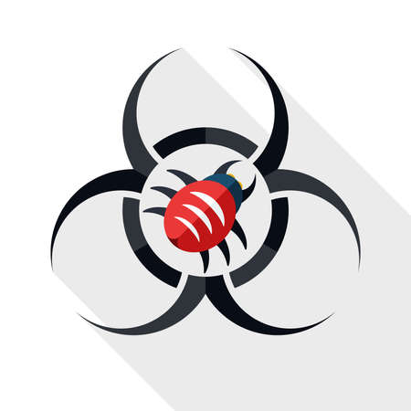 infectious waste: Biohazard virus icon with long shadow on white background