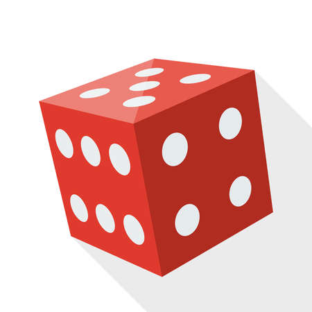 backgammon: Dice icon with long shadow on white background