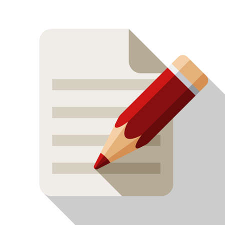 attestation: Document and pencil flat icon with long shadow on white background
