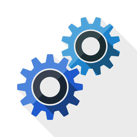 background settings: Gears or settings icon with long shadow on white background