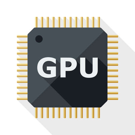chipset: GPU icon with long shadow on white background Illustration