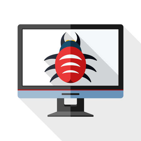 Icon of monitor with malware on the screen with long shadow on white background Illustration